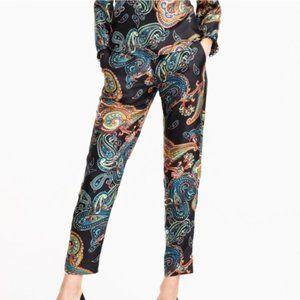 J.Crew Silk Pajama Paisley Print Pull-on Crop Pant